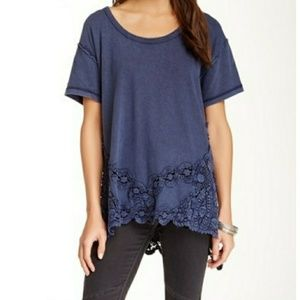Free People The Stone Tee Top Crochet Tunic